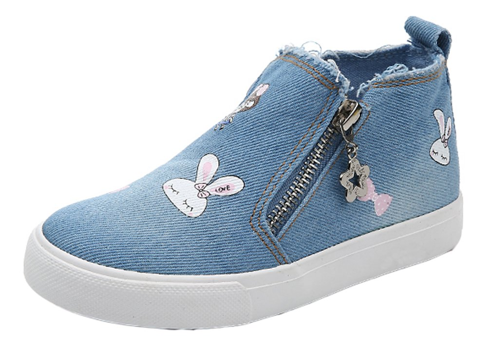iDuoDuo Girls High Top Bunny Print Canvas Shoes Casual Bow Zipper Loafers Light Blue 10.5 M US Little Kid