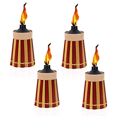 Kaya Collection Table Top Torches - 8 Inches High, 10-Ounce Capacity - Outdoor Mosquito Repellent Bamboo Table Torch 4 Pack - Red and Yellow : Garden & Outdoor