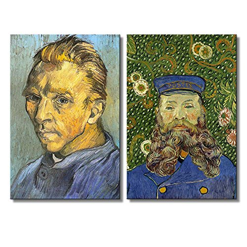 Portrait of The Postman Joseph Roulin Self Portrait by Vincent Van Gogh Oil Painting Reproduction in Set of 2 x 2 Panels