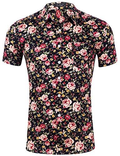 (XI PENG Men's Tropical Short Sleeve Floral Print Beach Aloha Hawaiian Shirt (Bohemian Black Red Flower, X-Large))