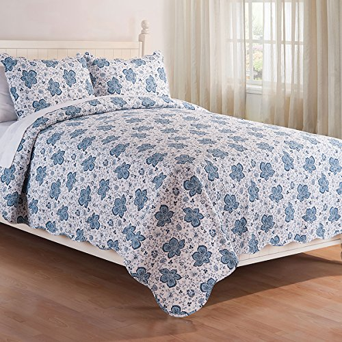 C&F Home Chesapeake Bay Blue 3 Piece Quilt Set All-Season Reversible Bedspread Oversized Bedding Coverlet, King Size,