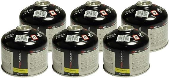 Pack de 6 cartucho gas 220 g butano propano Mix – Botella de Gas con válvula 410 ml – Bombona adaptadora para herbicida térmico