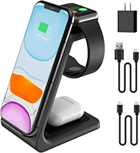 2020 Update Wireless Charging Station, JoyGeek 3 in 1 Wireless Charger, Qi Fast Charging Stand/Dock for Apple Watch SE/6/5/4/3/2, AirPods 2/Pro, iPhone/12/12 Pro/11/SE/X/XR/XS/XS Max/8 Plus (Black)