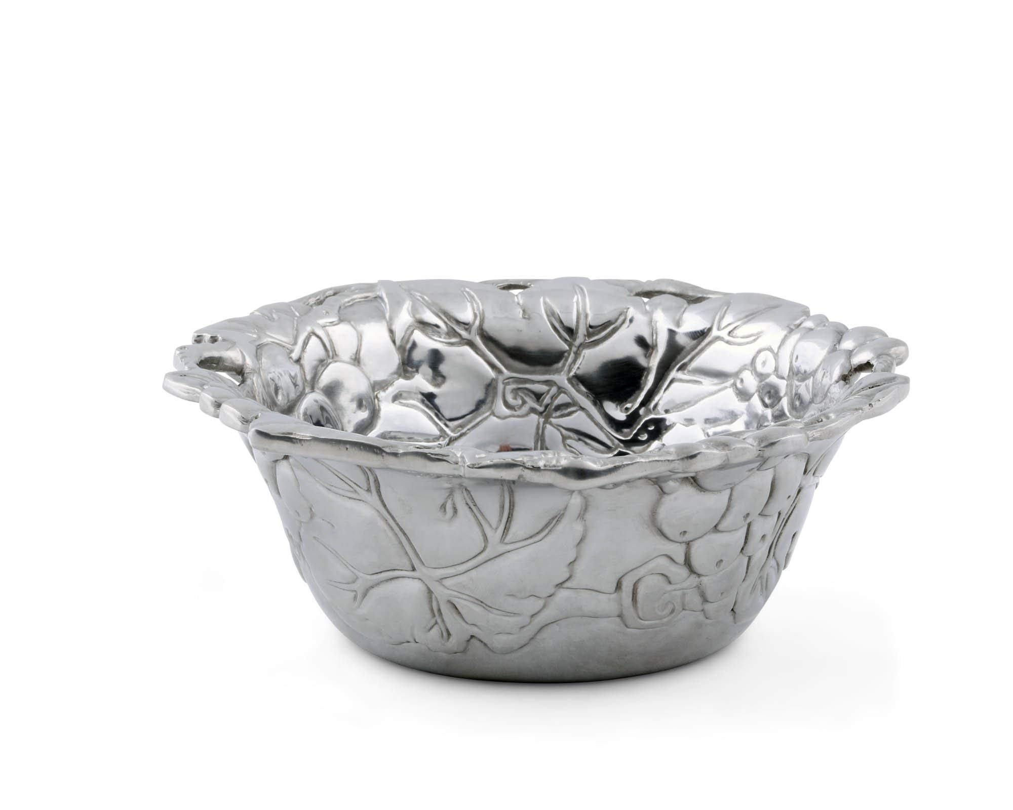 Arthur Court Designs 6'' Diameter Aluminum Grapevine Nut Bowl