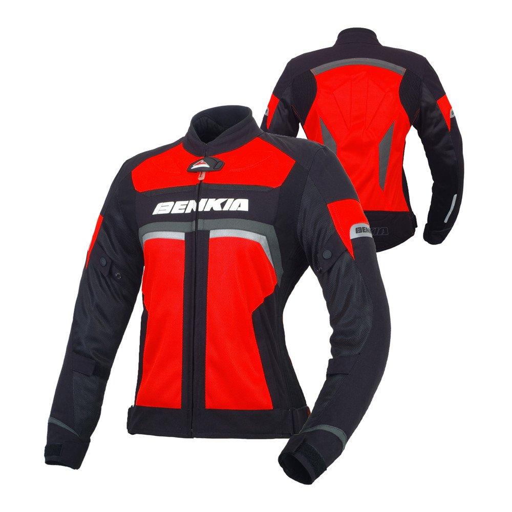 BENKIA バイクジャケット レディース 春夏秋 プロテクター装備  メーカ保証 バイクウェア XL 赤 B076BYVKZ9