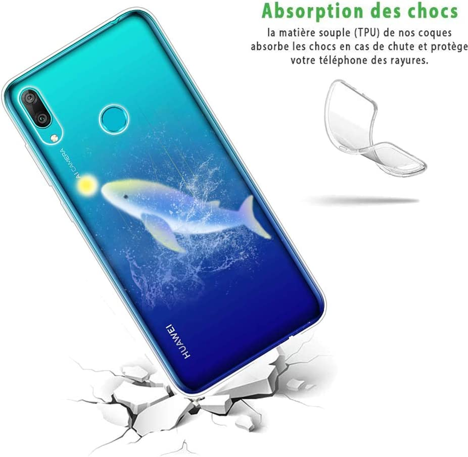 Blue Dolphin Design Anti-Yellow Crystal Transparent Clear Soft Thin Slim Shockproof Case Protective Bumper Cover for Huawei Y5 2019 SEEYA Silicone Case for Huawei Y5 2019