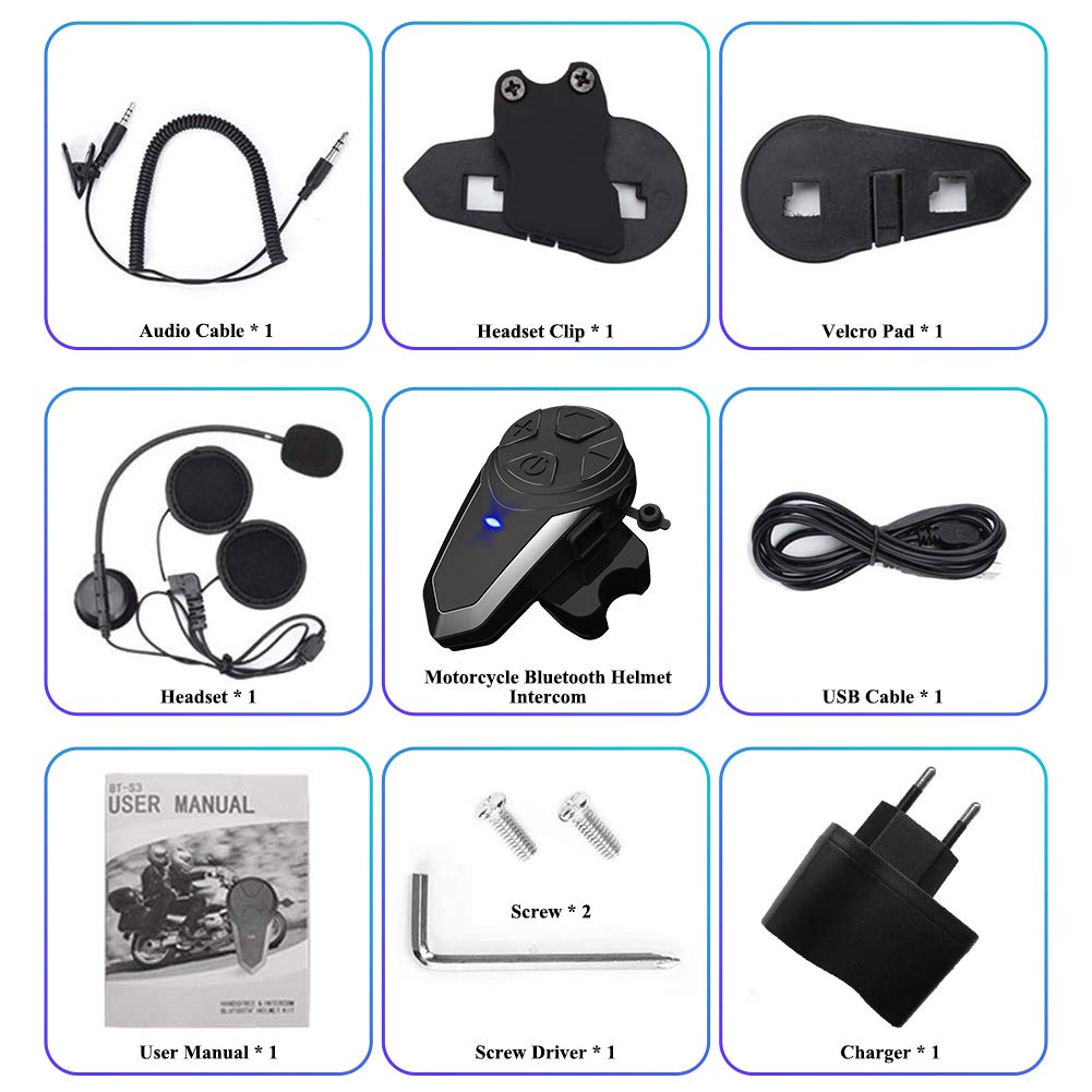 2 Piezas vFound BT-S3 1000m Interfaz de Motocicleta Casco Auriculares Sistemas de comunicaci/ón en Tiempo Real Manos Libres Radio FM Intercomunicador Bluetooth Impermeable para 2 o 3 pasajeros