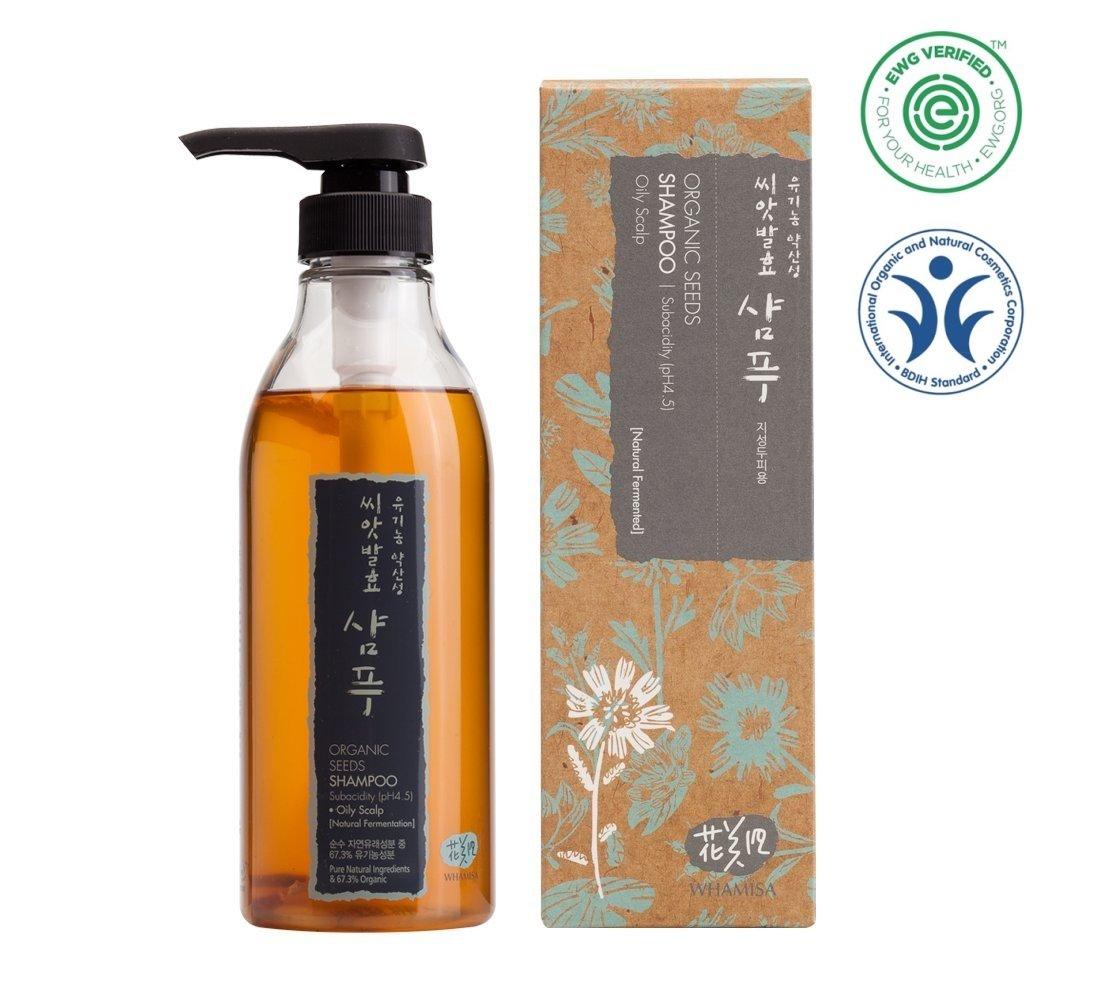 Whamisa Organic Seeds Hair Shampoo for Oily Scalp (pH 4.5) 500ml, 16.91 fl. oz., Sulfate-Free, -Naturally fermented, EWG Verified | Safe Shampoo for Pregnant Women by Whamisa