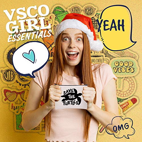 VSCO Girl Stuff – Flask Stickers, Reusable Straw & Teen Accessories Kit in a Cosmetic Bag