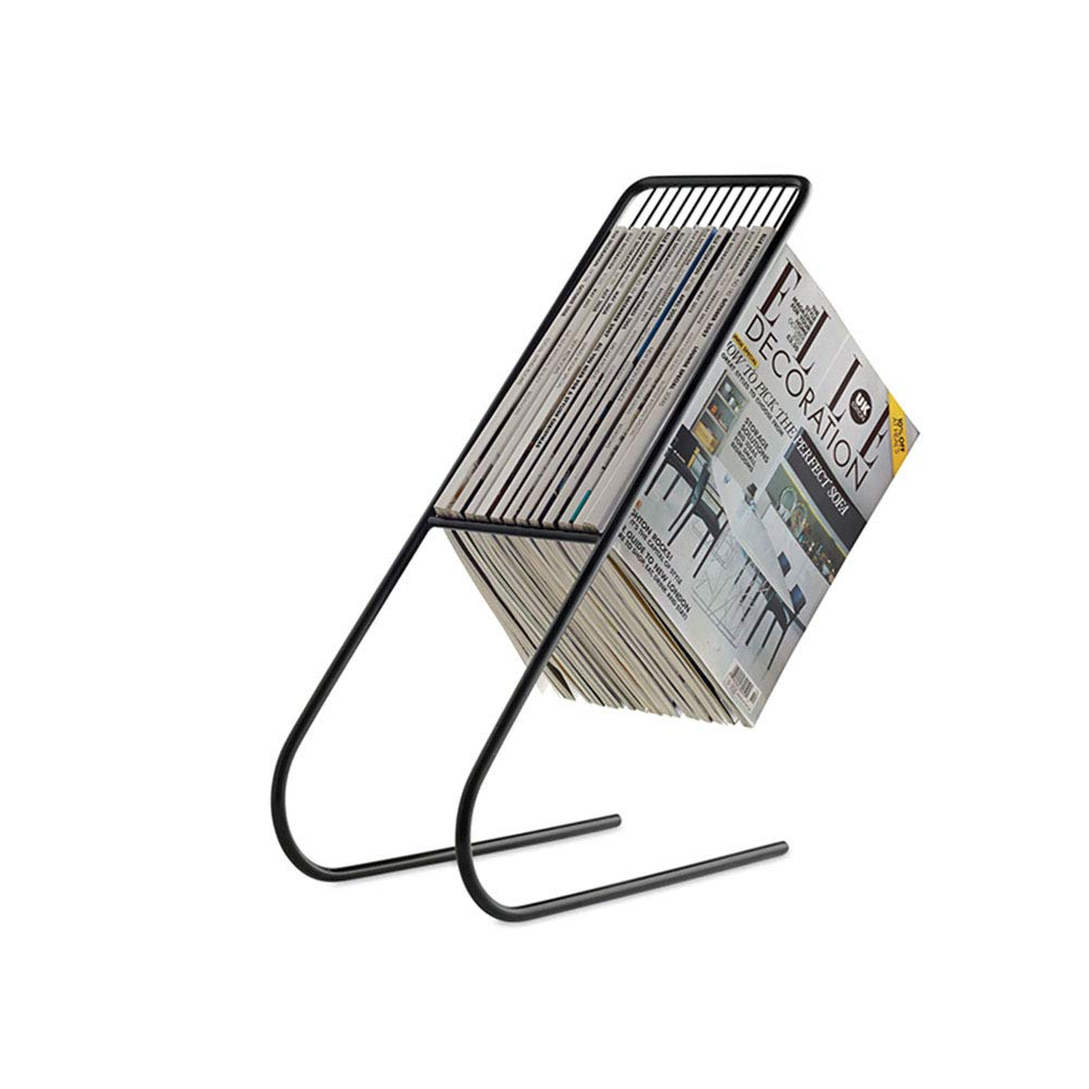 Qi Peng Bookshelf - Iron Simple Floor-Standing Creative Multi-Function Magazine Frame Newspaper Rack 20X50cm (Black, Gold, White) (Color : Black) by Qi Peng