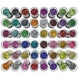 Arteza Glitter Set of 48 Shaker Jars, Colors Glow Under UV Black Light, Extra Fine, All Purpose for Body, Face, Slime, Crafts