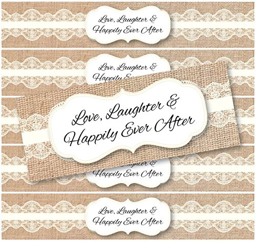 Burlap Lace Wedding Water Bottle Label Decorations (Ivory 48 pack) for Rustic, Shabby Chic, Vintage and/or Country Weddings and Celebrations | (Ivory)