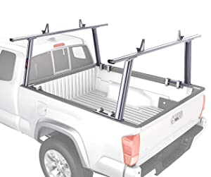 AA-Racks Model APX25 Compatible Tacoma 2005-On Extendable Aluminum Pick-Up Truck Ladder Rack (No Drilling Required) - Silver