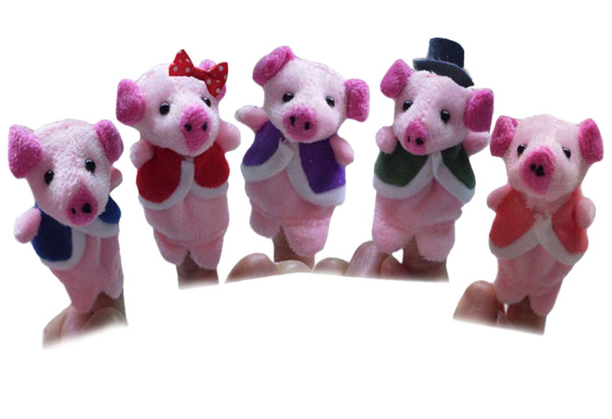 Happy Cherry Gechichte Fingerpuppen Set Niedlich Tierstyle Schweinchen Rollenspiele Handpuppe Plü sch Spielzeug fü r Kinder Frü hre Bildung (5 Kasperletheater) Cartoons & Comics