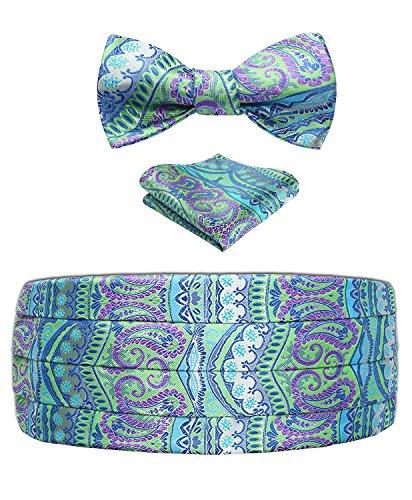 Men's Floral Paisley Silk Cummerbund & Self Bowtie & Pocket Square Set Green - Set Green Silk Cummerbund