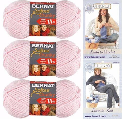 - Bernat Softee Chunky Yarn Bundle  Super Bulky Number 6, 3 Skeins Baby Pink 28418