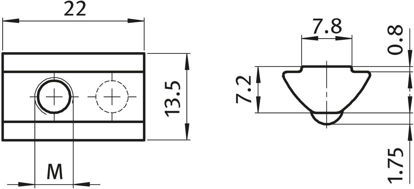 10 x 8 St nutenstein v nut m8 8 type i-m5 avec chevalet federkugel en acier galvanis/é
