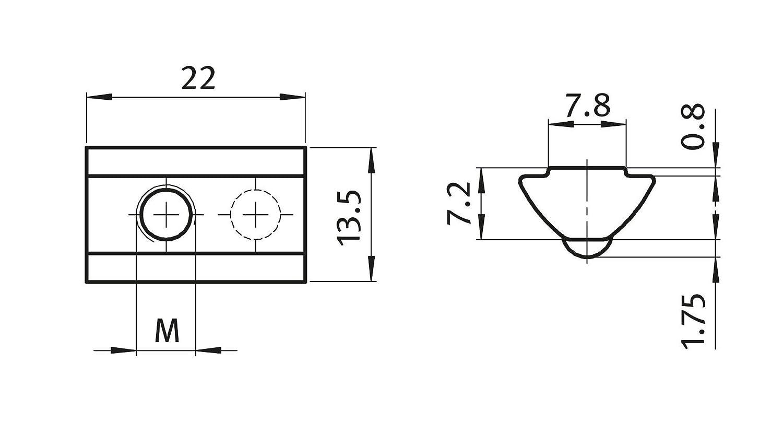 10 x 8 St nutenstein v nut m8 8 type i-m8 avec chevalet federkugel en acier galvanis/é