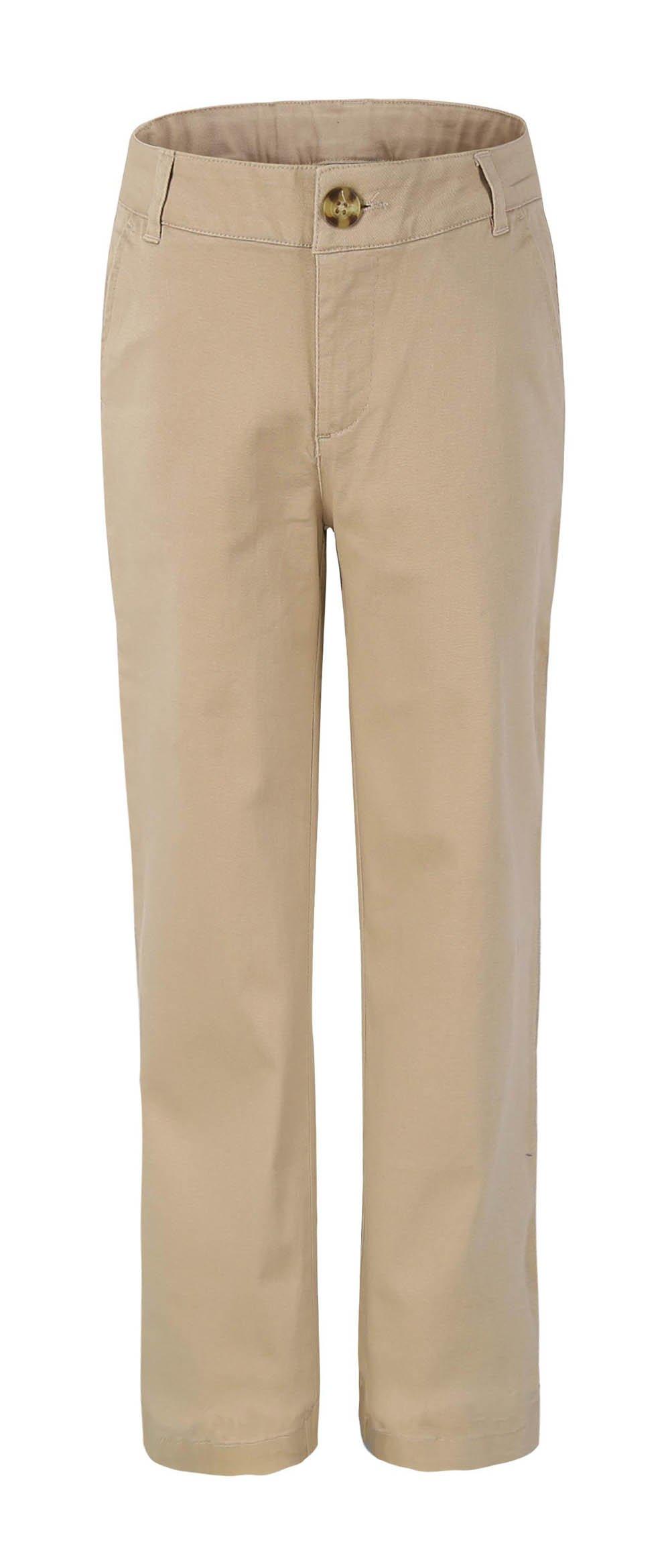Bienzoe Girl's School Uniforms Stretchy Twill Adjust Waist Flat Front Pants Khaki Size 14