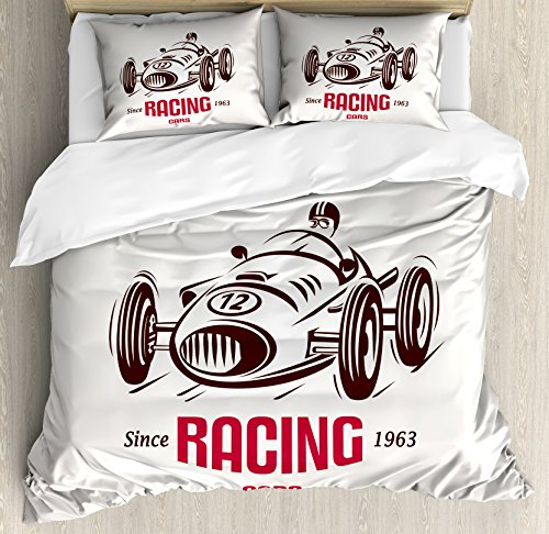 New Style Race Car - Ambesonne Cars Duvet Cover Set Queen Size, Retro Style Race Car Emblem Formula Automobile Icon Speed Competition, Decorative 3 Piece Bedding Set with 2 Pillow Shams, Chesnut Brown Pink White