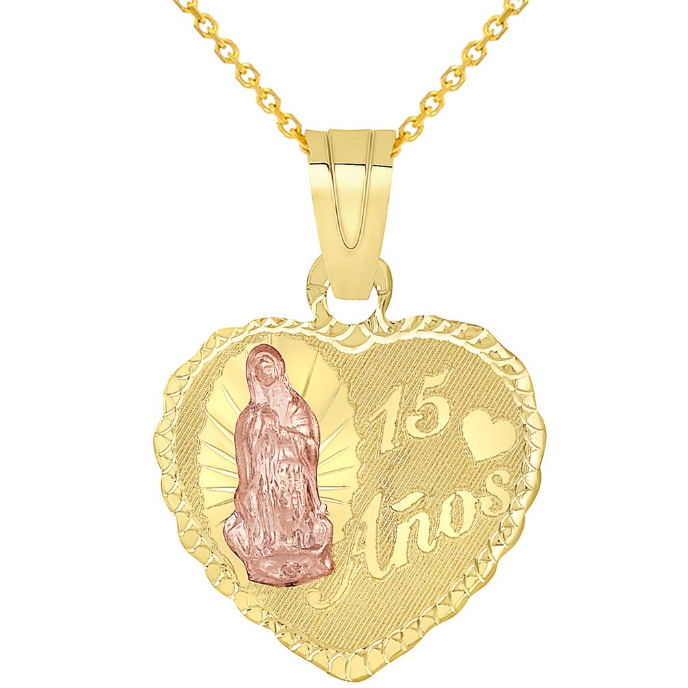 14k Yellow Gold and Rose Gold Heart Shaped Mis 15 Anos Guadalupe Quinceanera Pendant Necklace