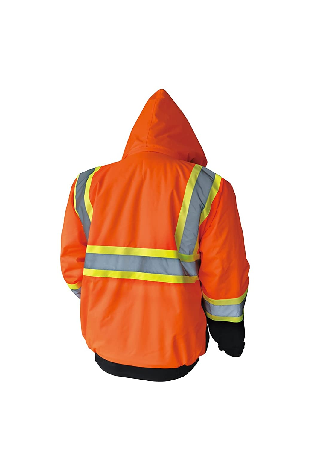 LM High Visibility Class III Reflective Waterproof Bomber Jacket W//Removable Hood