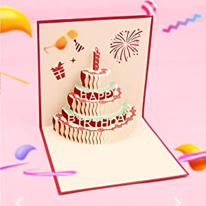 3D Stereo Greeting Card, 3 Layers Cake Pop Up Card with Cute Red Candle,Handmade Happy Birthday Card for Women Men Kids (Birthday Cake with Candle)2 Pcs 1515 CM