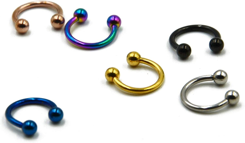 6pcs Titanium Anodized Circular Barbell Horseshoe CBR Septum Lip Labret Eyebrow Nose Ring Nipple Piercing Body Jewelry 16g,16gX12X3mm,Silver