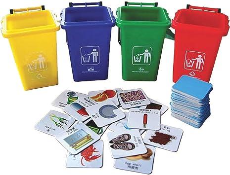 deAO Aprende a Reciclar en Inglés Juego de Mesa Educativo Clasificación de Desechos Set de Contenedores y Tarjetas en Inglés Juego Infantil y Familiar: Amazon.es: Juguetes y juegos