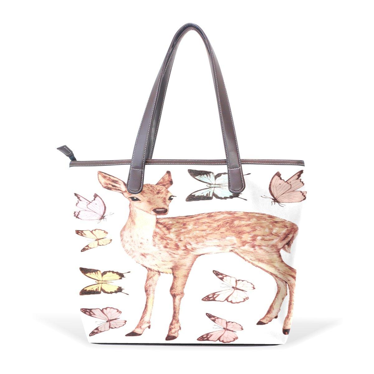 SCDS Butterfly And Deer PU Leather Lady Handbag Tote Bag Zipper Shoulder Bag