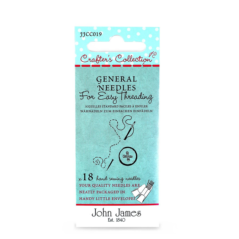 John James Crafters Collection General Large Eye Needles For Easy Threading Needles x18 5 4 Sizes: 3