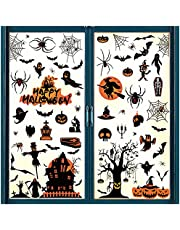 Raamstickers, 8 vellen, Halloween, decoratieve raamstickers, heks, vleermuis, slot, raamstickers, waterdichte zelfklevende stickers, doe-het-zelf-decoratie voor Halloween