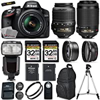 Nikon D3200 DSLR Camera + Nikon 18-55mm VR II Lens + Nikon 55-200mm VR Lens + .43x Wide Angle Lenss + .43x Wide Angle Lens + 64GB Storage Class 10 + 2 UV Filter - International Version