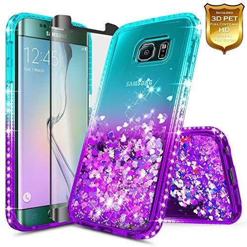 Galaxy S6 Edge Case w/[Full Cover Screen Protector Premium Clear], NageBee Glitter Liquid Quicksand Waterfall Flowing Sparkle Bling Diamond Girls Cute Case for Samsung Galaxy S6 Edge -Aqua/Purple