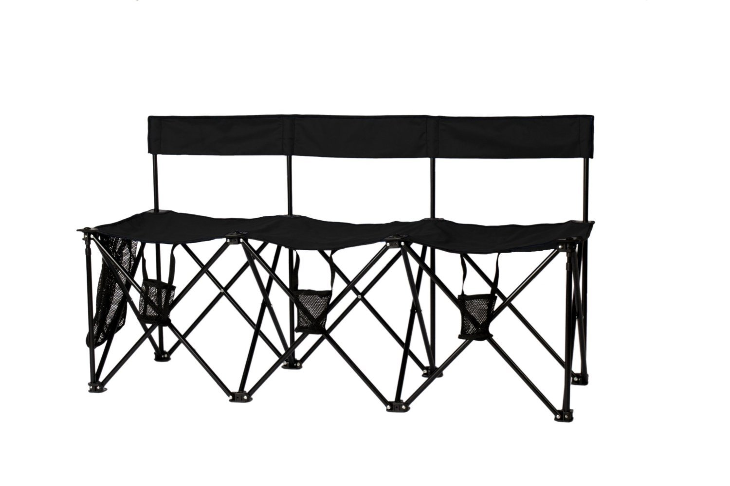 Sportify Deluxe 3 Seater Ergo-Back Foldable Bench with Drink Holders & Gear Pocket (Black)