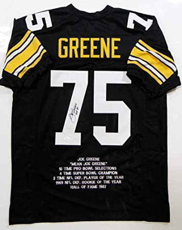 30d5b7899 Joe Greene Signed Jersey - Black Pro Style STAT w HOF Witnessed Auth  7 -