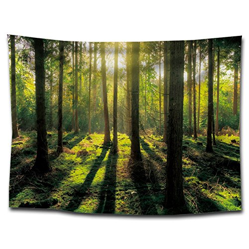 QEES Green Forest Decor Tapestry Pattern Woven Couch Throw Blanket, Light-Weight Polyester Fabric Hippie Hanging Wall Decor Bedroom Living Room Dorm Wall Hanging(59