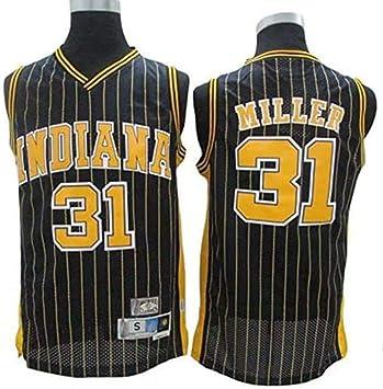 Retro Deporte De Baloncesto De Malla Transpirable Jersey SHR-GCHAO Pacers NBA Indiana # 31 Reggie Miller Camiseta De Baloncesto Jersey De Los Hombres,S 165~170cm//50~65KG