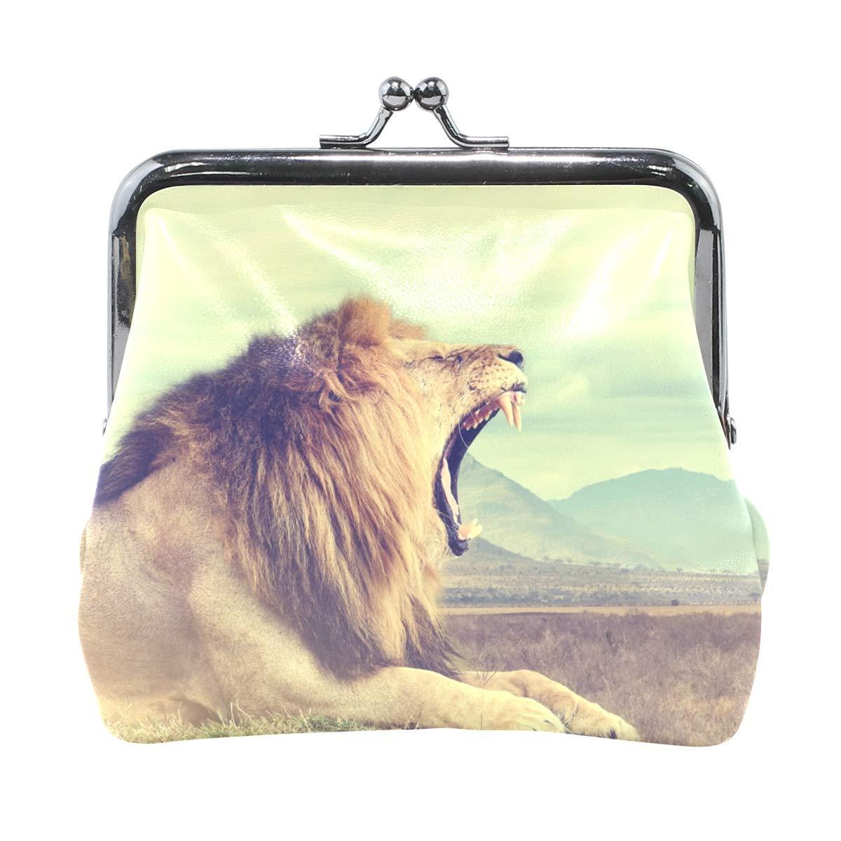 Amazon.com: Nature Animal Lion - Monedero de piel con cierre ...
