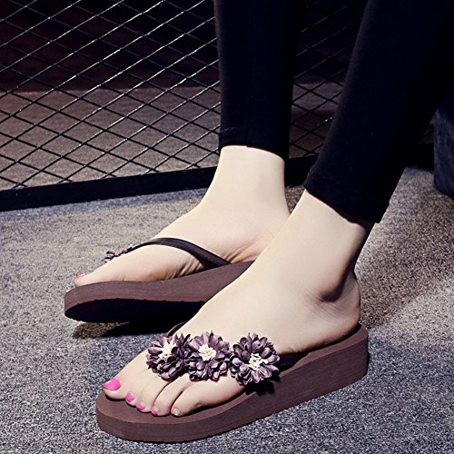 Flip Scarpe S Brown Sandali Flops Summer Femminile Beach Cunei Donne Pantofola Black Flower PZItxq