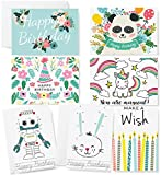 Happy Birthday Cards - 42 Blank Cards and Envelopes - Cute Birthday Card Assortment Box Set for Adults, Kids and Animals