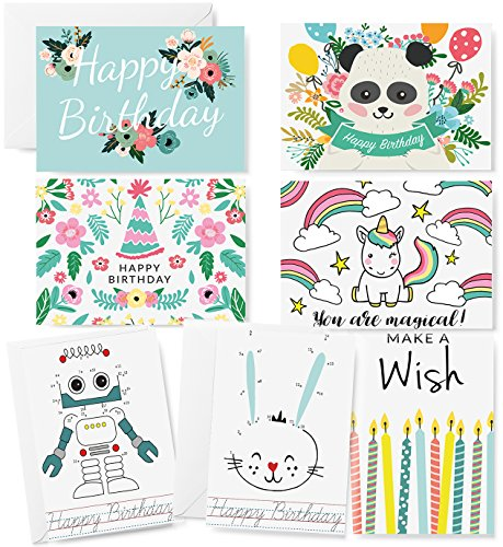 Happy Birthday Cards - 42 Blank Cards and Envelopes - Cute Birthday Card Assortment Box Set for Adults, Kids and Animals by Polite Society