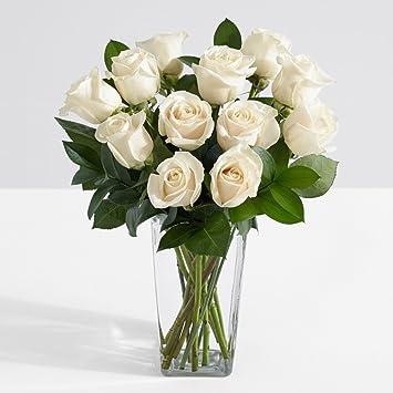 Amazon proflowers 12 count white one dozen long stemmed proflowers 12 count white one dozen long stemmed white roses wfree clear vase mightylinksfo