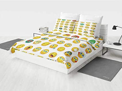Emoji Boy Bedding Set Cartoon Like Smiley Faces Of Mosters Girls Couple  Happy Sad Angry Furious