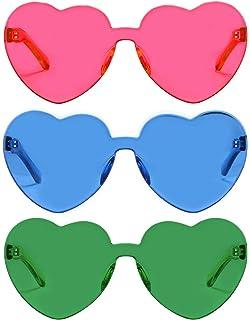 35c0fceabd1f4 One Piece Heart Shaped Rimless Sunglasses Transparent Candy Color Eyewear