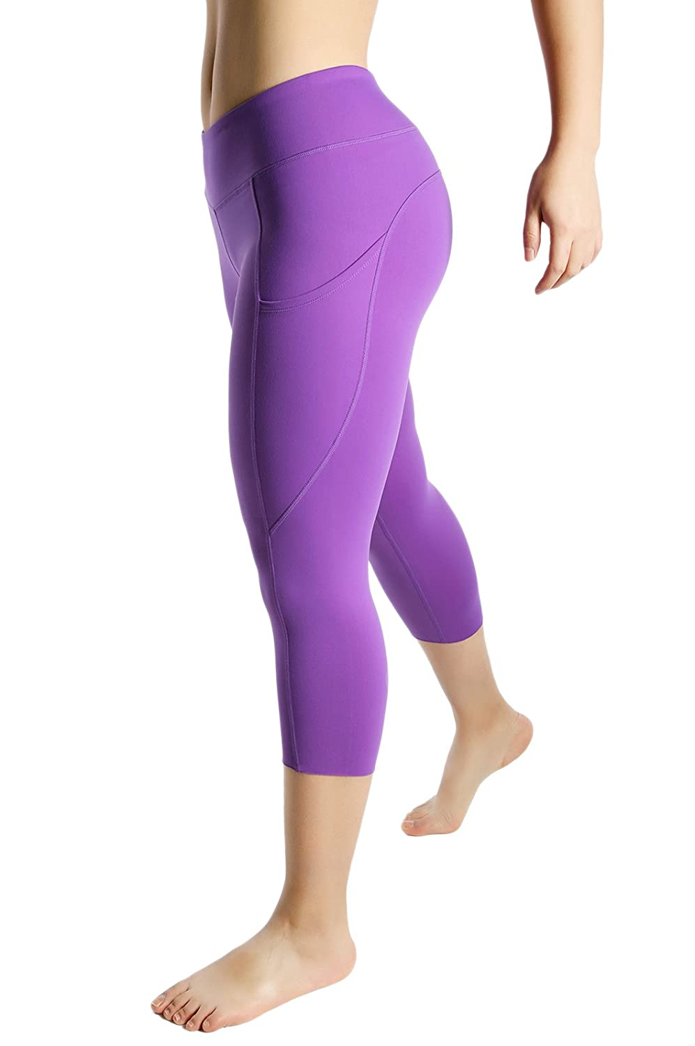 862fe87f59e0 Womens Out Side Pocket Wod Capris Compression Pants Yoga Workout Leggings  Full Sizes