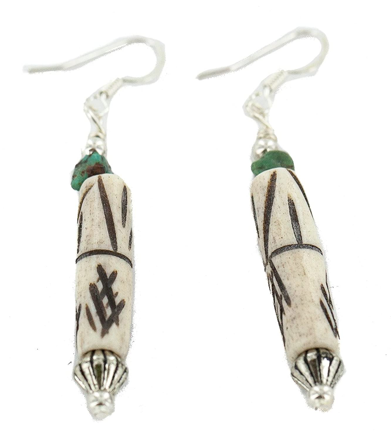 $80 Retail Tag Authentic Made by Charlene Little Silver Hooks Natural Turquoise Bone Native American Dangle Earrings