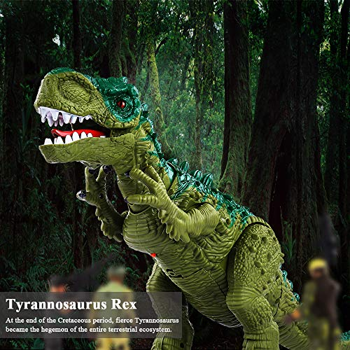 TEMI Electronic Walking Dinosaur Toys for Kids Boys Girls, Battery Powered Jurassic Green Tyrannosaurus Rex Model T-Rex Dragon with Sounds and Projection Lights, Real Movement, Laying Eggs by TEMI (Image #5)