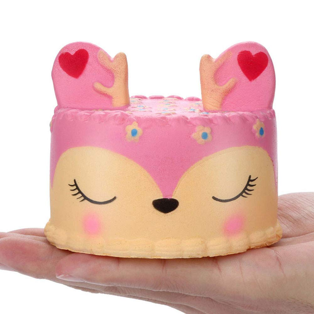 Staron Christmas Squishies Toy Slow Rising Pink Deer Jumbo Cake Kawaii Animals Bread Squishy Charms Exquisite Lovely Soft Xmas Squishy Toys for Kids (A)
