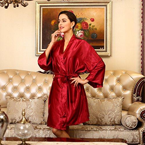 SUNBABY Women Silk Satin Nightgown Short Kimono Robe Sexy Sleepwear Fashion Dressing Gown Big Size (Red) by SUNBABY (Image #3)